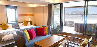 Four-bed suite with an open-air bath with panoramic Mt. Asama view (81㎡~):7th to 8th floor
